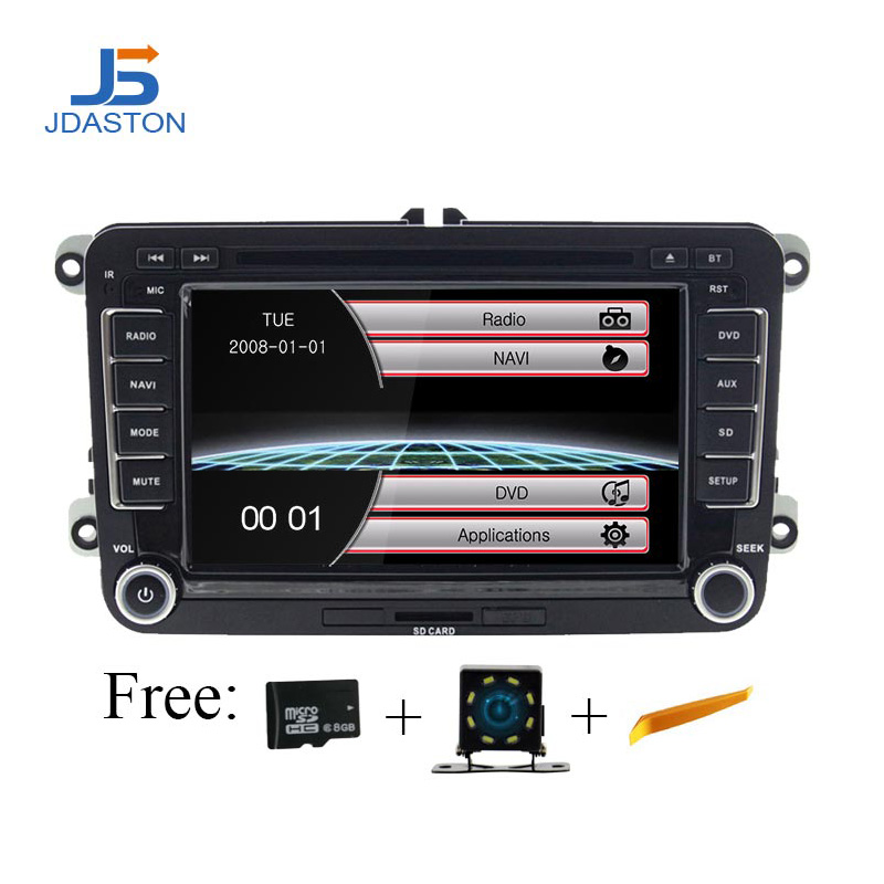 JDASTON Auto DVD Player Für Skoda Volkswagen VW Passat B6 Polo Golf Touran Sharan Jetta Caddy T5 Tiguan Bora <font><b>2</b></font> <font><b>din</b></font> Auto Radio GPS image