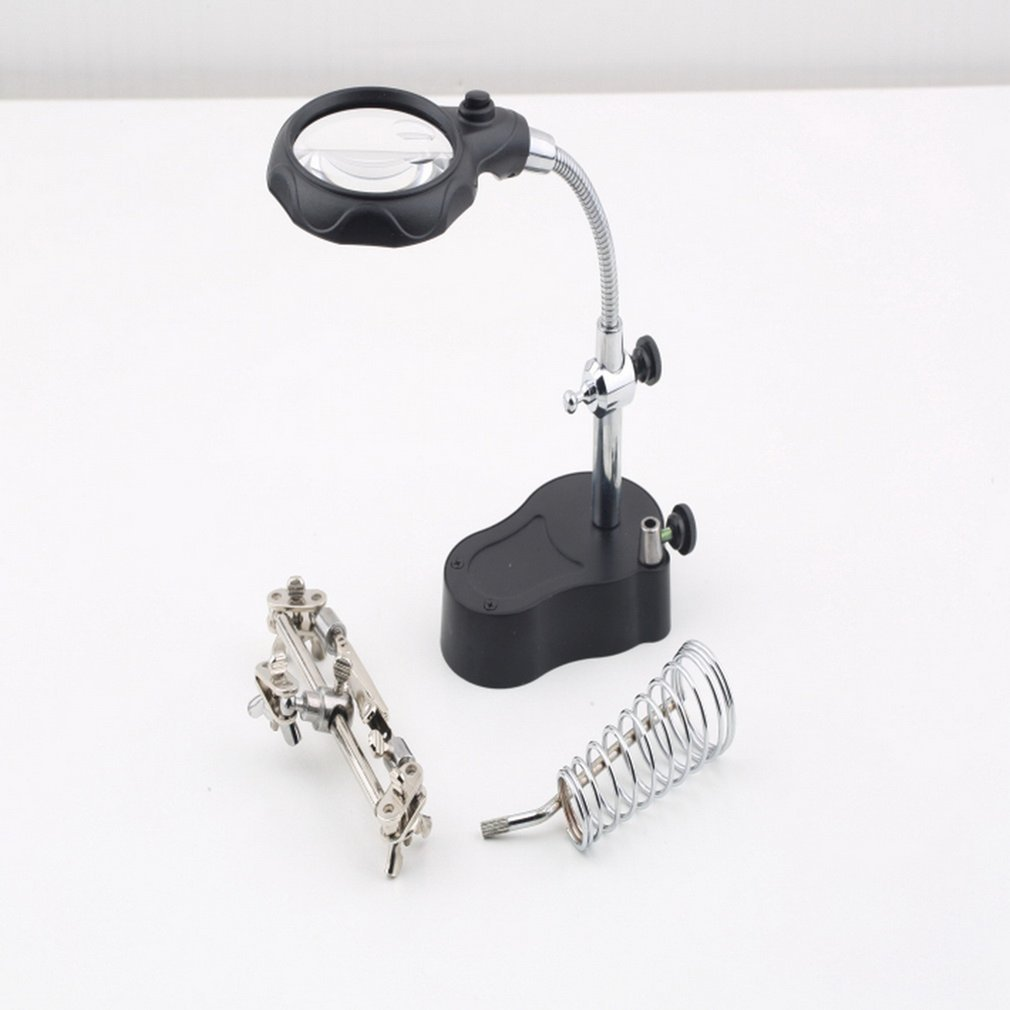 3.5x 12X 3rd Helping Clip LED Lighting Handheld Reading Magnifying Soldering Iron Stand Glass Len Magnifier Table Light