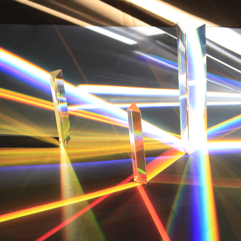 Triangular Prism Rainbow Glass Science Experiment Optical Glass Prism for Children To See The Refraction of  Light 14*14*87