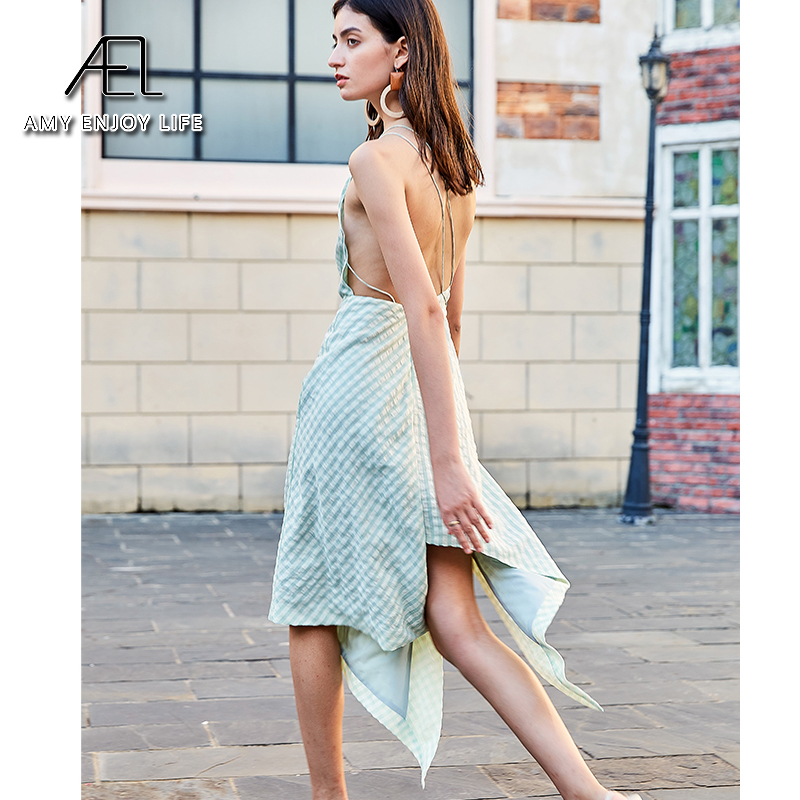 AEL white green Plaid Dresses sexy Female Skew Neck High Waist Lace Up high split Dress Irregular Hem Women Asymmteircal