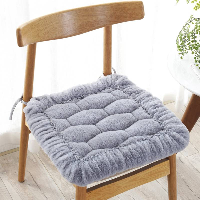Plush Chair Cushion Solid Color Warm Non-Slip Seat Pad Sit Cushion Driver Car Mat Washable Cat Throw Pillow Square Stool Covers