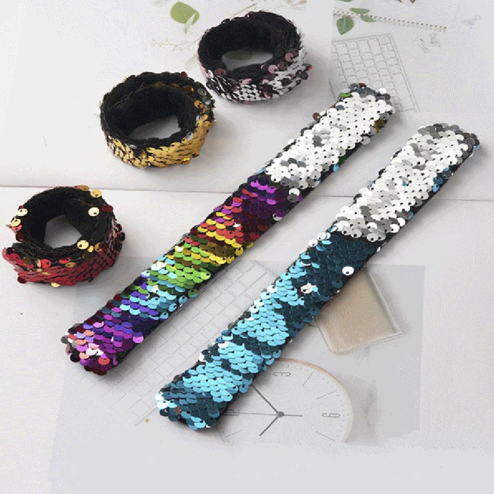 Детский Браслет из блесток, 2 шт., Детские вечерние браслеты на день рождения с блестками, браслеты Русалочки для детей