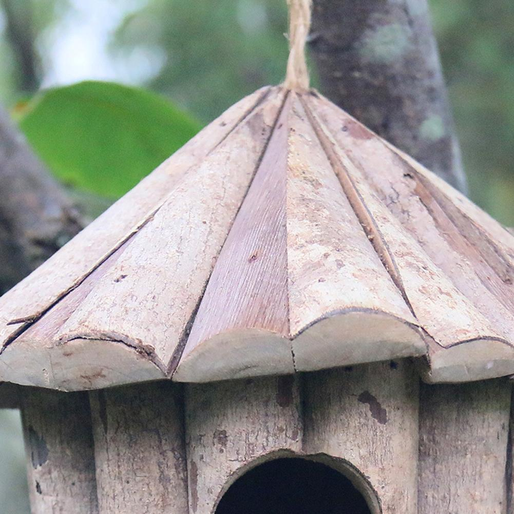 Handmade Wooden Bird Cage House Eco-friendly Whitewood Round Hole Garden Bird Nest Crafts Solid Antiseptic Parrot Birdhouse