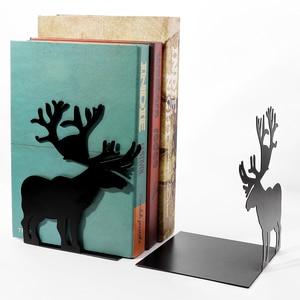 Image 3 - 2 יח\סט ספר בעל לקריאה איילים מתכת מדף ספרים תלמיד מתכת Bookend שולחן מחזיק Stand עבור ספרים ארגונית חג המולד מתנה
