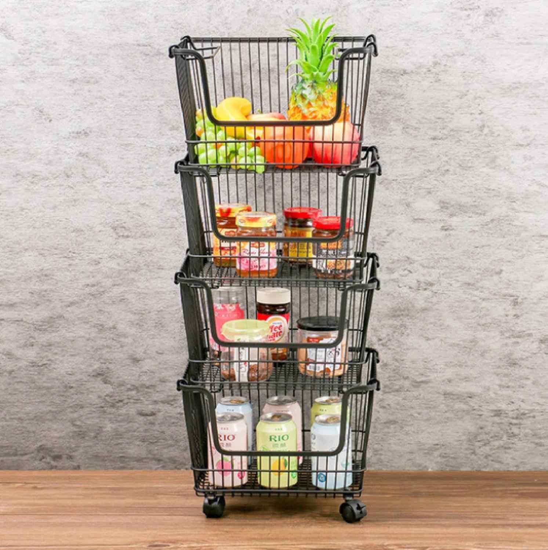 Metal Wire Vegetable Fruit Basket Storage Rack Stacking Kitchen Organizer Holder
