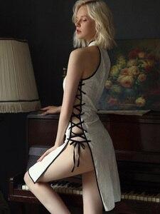 Image 5 - Robe de nuit en velours Sexy pour femmes, en dentelle en V profonde, ouverture latérale, fendue sur le côté, vêtements de nuit, vêtements pour la maison
