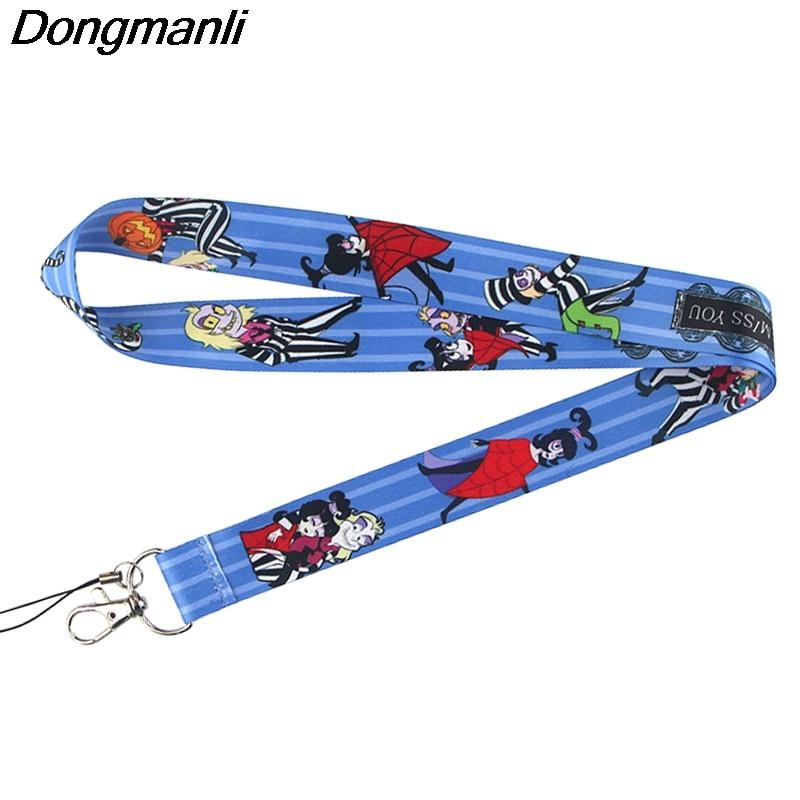 P4383 Dongmanli 1pcs Ghost Lanyards Id Badge Holder Keychain ID Card Pass Gym Mobile Badge Holder Lanyard Key Holder