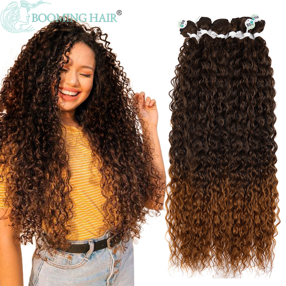 Kinky Curly Hair Bundles Synthetic Hair Extensions Blonde Two Tone Color Hair Weave Bundles 3bundle/100g For Women Free Shipping