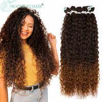 Pelo Rizado mechones extensiones de cabello sintético Rubio dos Tono de Color extensiones de pelo ondulado mechones 3 paquete/100g para las mujeres envío gratis