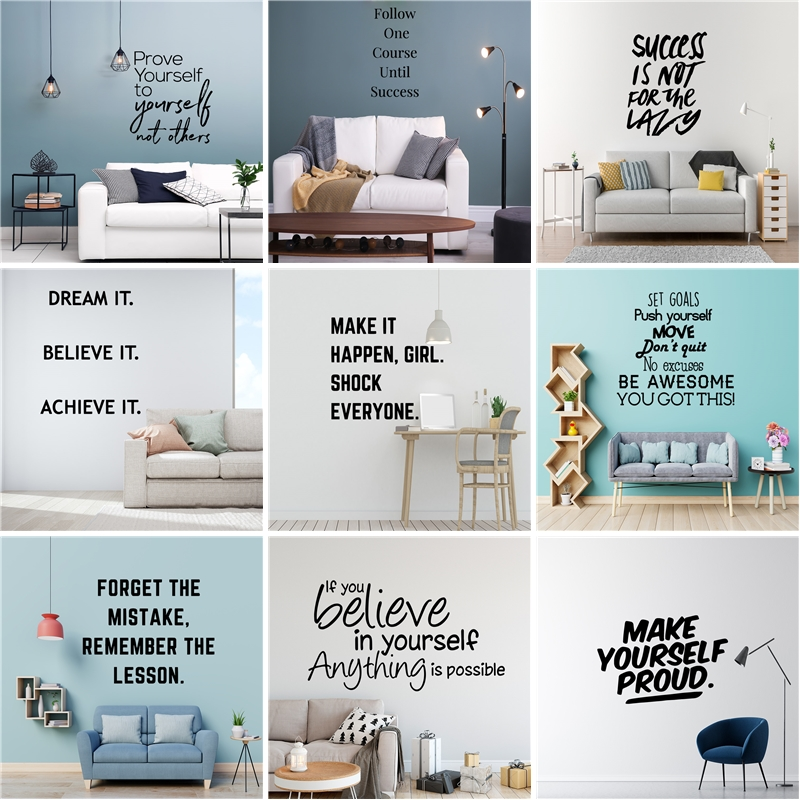 >20 Style Dream Phrase Motivation Quotes Vinyl Wall Sticker For <font><b>Office</b></font> Room Decoration Mural Kids Bedroom <font><b>Decor</b></font> Living Room House