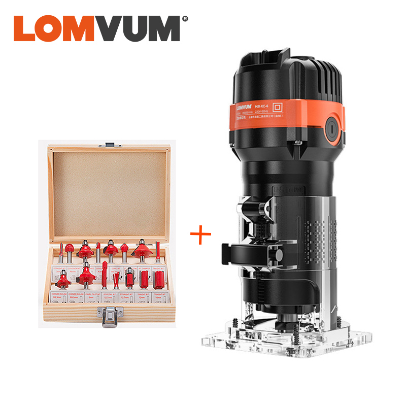 LOMVUM 470W Woodworking Milling Machine Electrict Trimmer 220V Wood Cutting  Trimming Machine For Milling Engraving Slotting
