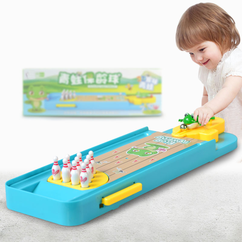 Kids Desktop Game Toys Mini Frog Desktop Bowling Game Platform Bowling Interactive Table Sports Game Toys For Children Gift