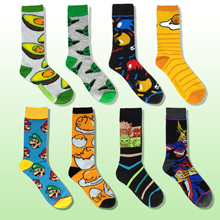 Creative Novelty Happy Funny Men Cartoon print Combed Cotton mario yoda egg anime hero Sock