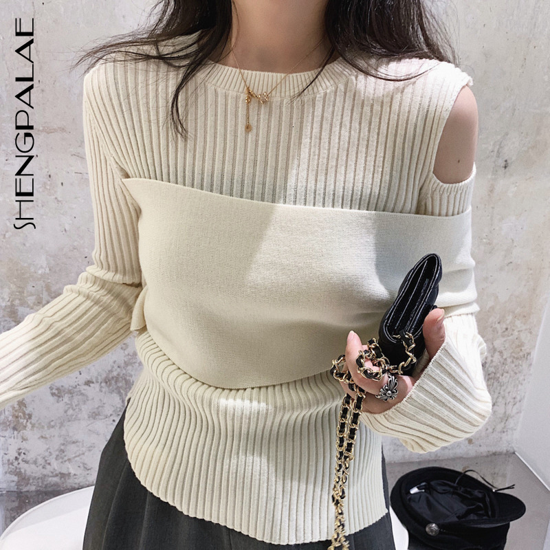 SHENGPALAE 2020 New Fashion Spring Sweater Women Solid Round Collar Shoulder Hollow Wrap Slim Tide Pullover Female A533