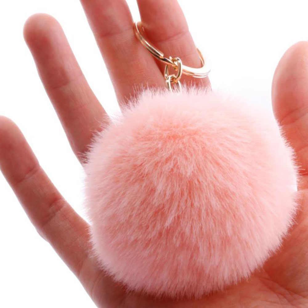 18 الألوان لطيف المفاتيح 7 سنتيمتر بوم بوم مفتاح سلسلة مفتاح حامل ل فتاة النساء llaveros الفقرة موهير خاتم هدايا مجوهرات أنيقة