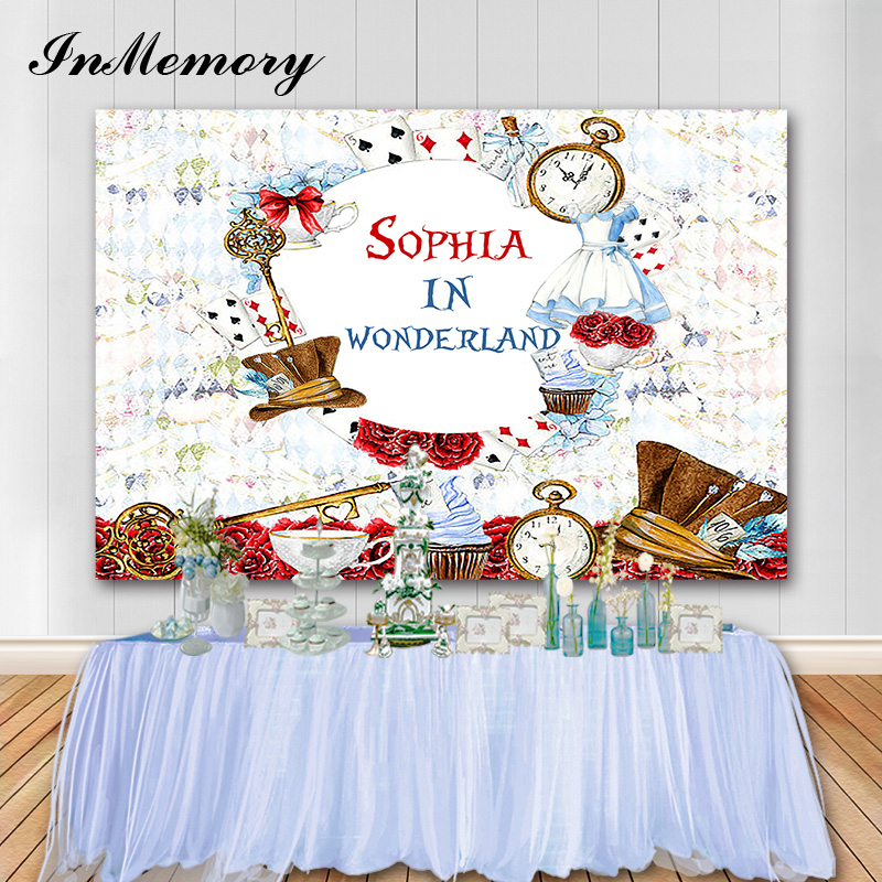 InMemory Alice In Wonderland Party Backdrop Clocks Poker Girl Birthday Customized Photography Photo Background Photocall Vinyl(China)