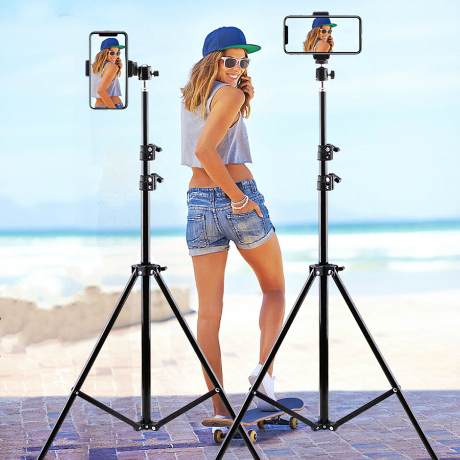 210CM Table Floor Tripod For Phone Camera Ring Light Metal Stands Reflectors Photo Studio Video Flash Lighting Background NE003 image
