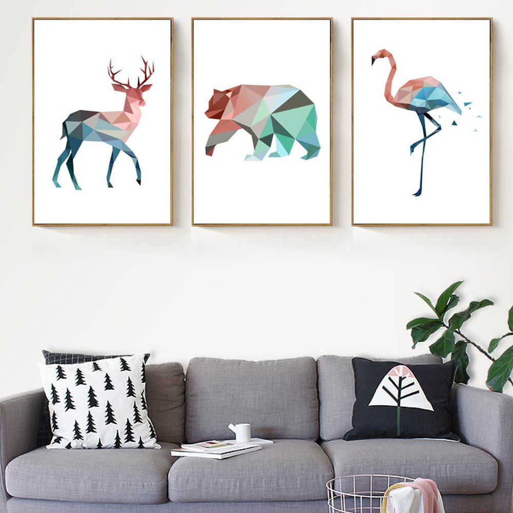 Creative Deer Bird Bear Posters And Prints Wall Art Painting Pictures Home Living Room Decoration Home Decor