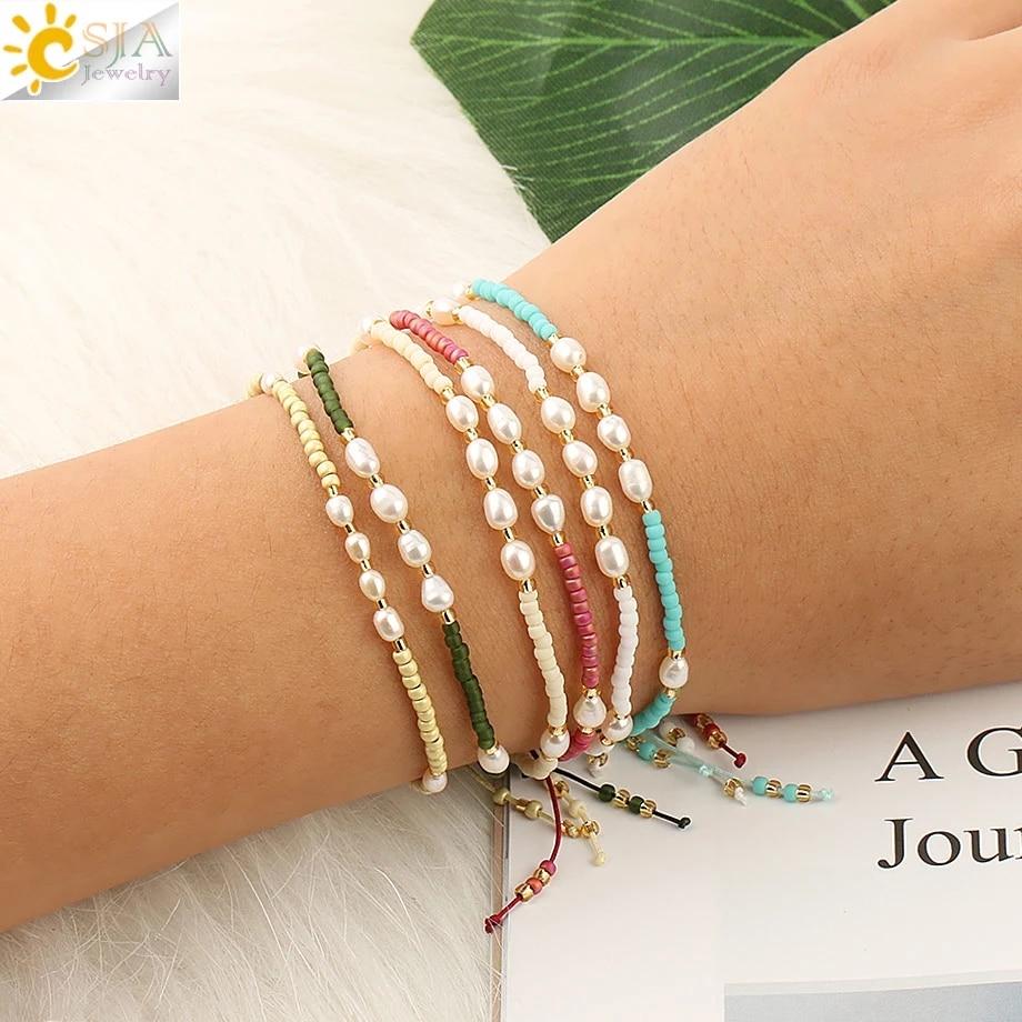 CSJA Pearl Miyuki Bracelet for Women Fashion Bracelets Friendship Pulseras Mujer Moda 2020 Femme Trendy Jewelry Bransoletka S497