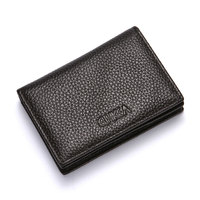 Women Leather Men's Wallet Leather ID Card Holder Zipper Buckle Wallet Creative Credit Card Case