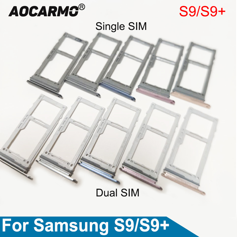 Aocarmo Single/Dual Metal Plastic Nano Sim Card Tray Micro SD Slot Holder For Samsung Galaxy S9 / S9 Plus S9+