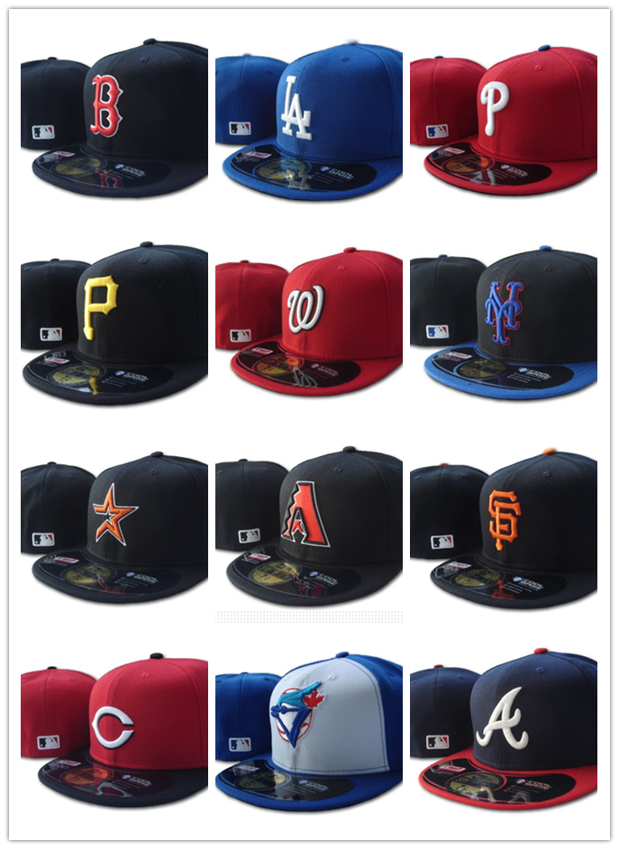 Fitted-Hats Baseball-Caps Braves Atlanta Closed-Gorras Hip-Hop-Bone La Dodgers Boston title=