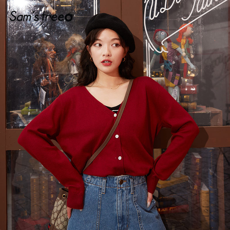 SAM'S TREE Multicolor Solid Single Breasted Knit Women Cardigan Sweater 2020 Spring Pure Long Sleeve Korean Ladies Basic Tops