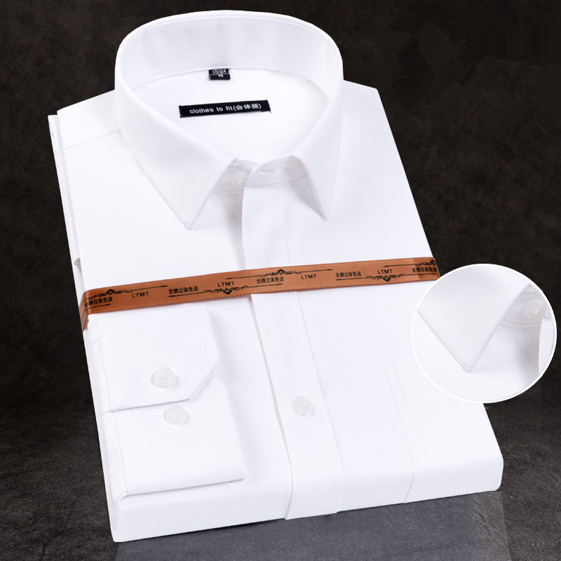 2019 New High-grade Cotton Men's Long Sleeve Shirt No Iron Youth Business Work Clothes Men's White Shirt N5208