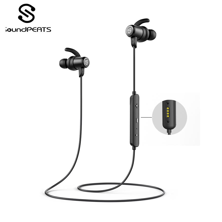 SounPEATS Bluetooth 5.0 Wireless Earphones IPX8 Waterproof Sports Earphones With Magnetic Charging APTX HD 14 Hours Playtime