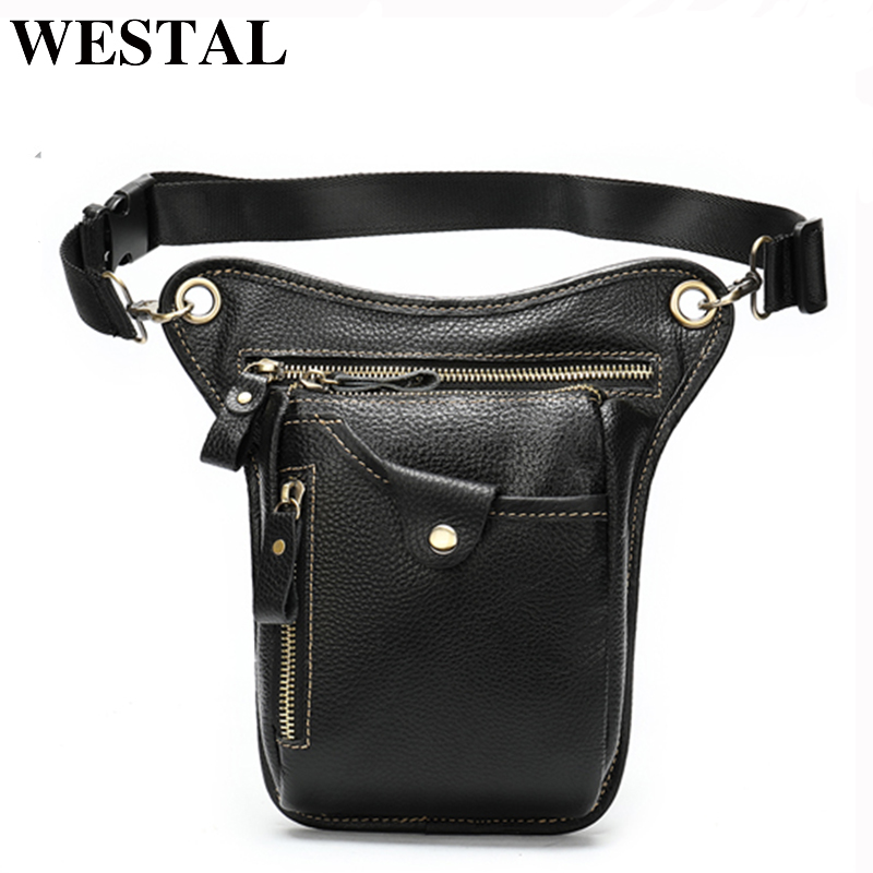 WESTAL Genuine Leather Leg Bag In Waist Pack Motorcycle Fanny Pack Belt Bags Phone Pouch Travel Male Small Leg Bag Tactical 9667