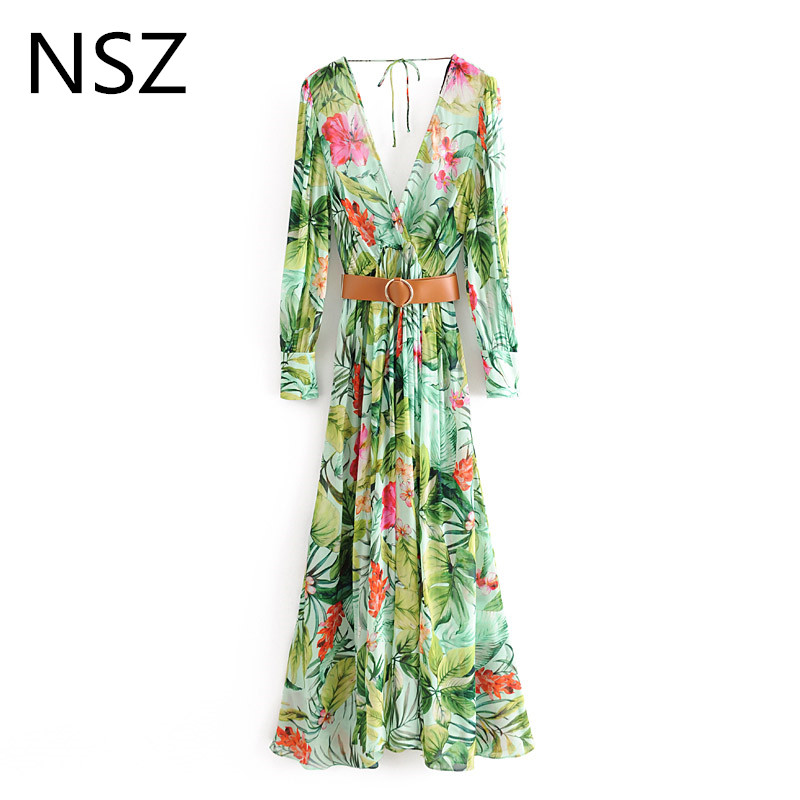 NSZ women floarl plants print long <font><b>maxi</b></font> chiffon <font><b>dress</b></font> boho summer <font><b>sexy</b></font> deep v neck open back <font><b>high</b></font> <font><b>slit</b></font> belt beach <font><b>dress</b></font> bohemia image