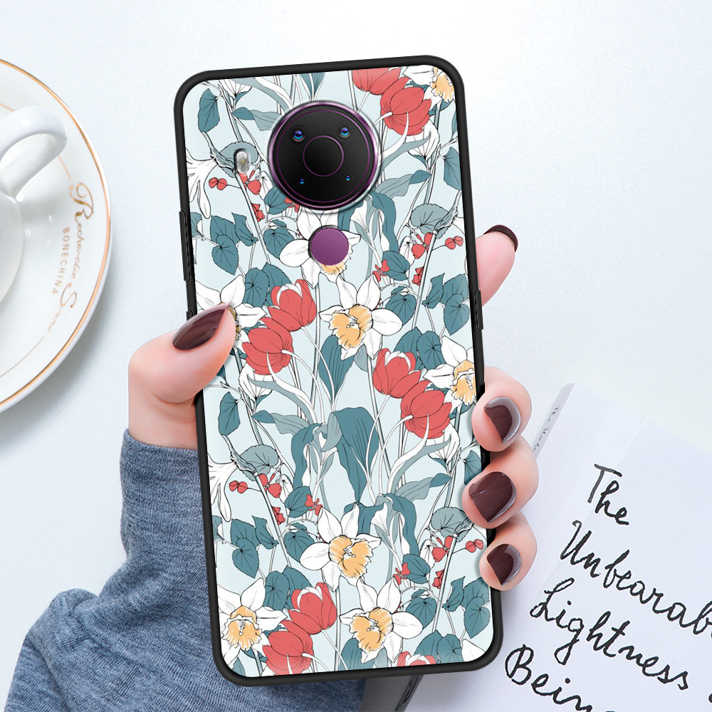 Colorful Abstract Art Line Flower Luxury Silicon Cover For Nokia 2.2 2.3 3.2 4.2 7.2 1.3 5.3 8.3 5G 2.4 3.4 C3 1.4 5.4