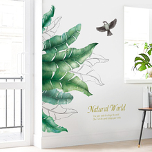 150*150cm Nordic style Green Banana leaf Wall Stickers for Living room Bedroom Vinyl DIY Wall Decals Self-adhesive Wall Murals removable green leaf wall stickers for living room bedroom door self adhesive refrigerator diy wall decals vinyl art wall murals