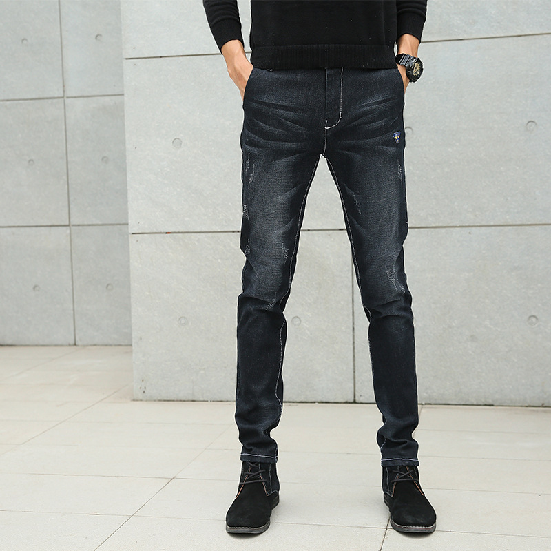 Spring And Summer New Style Jeans Men Youth Korean-style Casual Elasticity Slim Fit Skinny Pants Diao Mo Scraping Yarn Scratch T