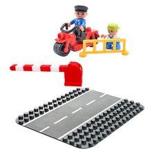Para travamento duplo, amigos figuras, placa de base, barreira, brinquedos para crianças, compatível com tamanho grande, duploe, blocos de construção de cidade