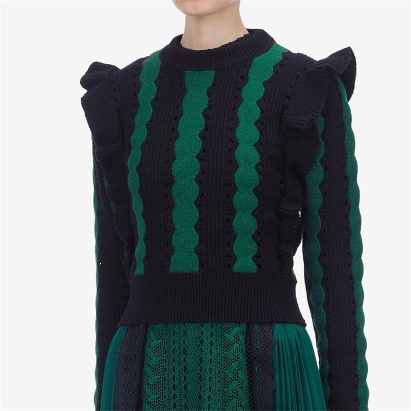 Runway Self Portrait Sweaters For Women Striped Hollow Out Ruffles Collection Chic Pullovers Puff Sleeves Knitted Tops Jumpers