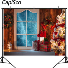 Capisco background for photo Christmas tree Frozen Window gift wood floor professional festival photographic photo backdrop(China)