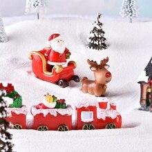 3/4/7pcs/set Christmas Miniature Snowmen Santa Elk Christmas Figurines Fairy Garden Decor Snow Micro-Landscape Model christmas market snow garden