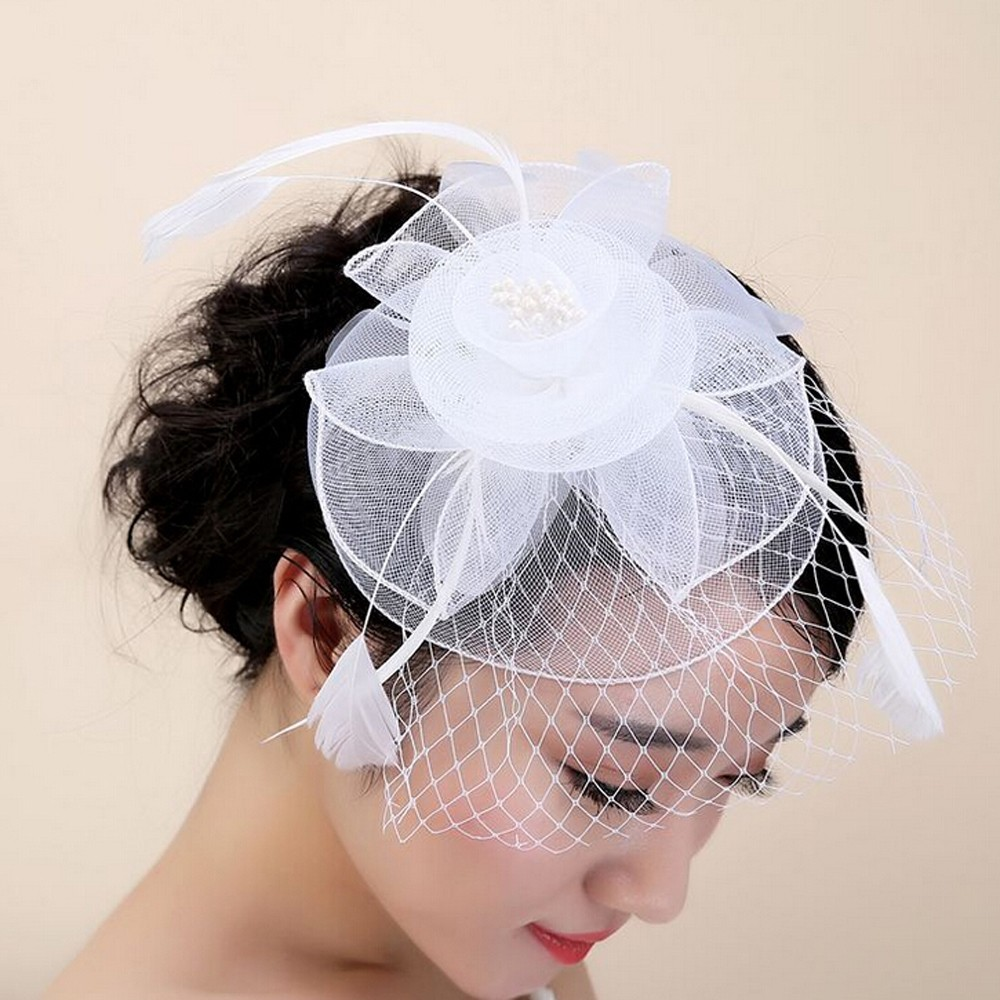 2019 New Women Elegant Wedding Party Hat Fascinator Mesh  Ribbons Feathers Flowewr Hat Pamelas Y Tocados Para Bodas