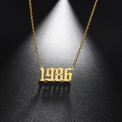 Teamer ze stali nierdzewnej rok urodzenia numer naszyjnik złoty kolorowy wisiorek dla kobiet łańcuch Choker biżuteria urodziny prezenty