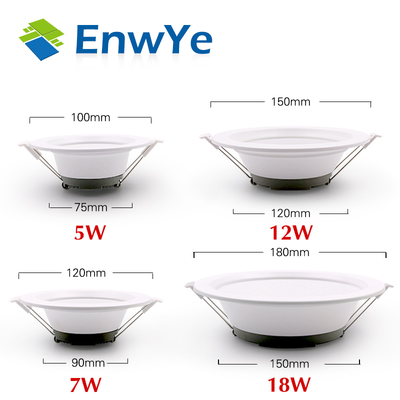 EnwYe LED Down Light Ceiling Light 5W 7W 12W 18W No Strobe Indoor LED Ceiling Light AC 220V Warm White / Cool White
