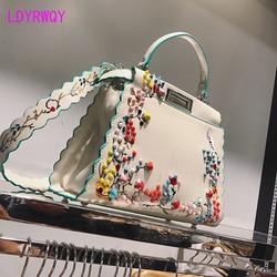 Новые модные сумки женские вышитые заклепки сумки Жаккардовые Женские цветочные