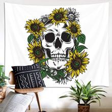 Sunflowers Skull Tapestry Skeleton Halloween Home Decor Wall Hanging Tapestry Flower Pattern Tapestries Wall Cloth Beach Blanket flower skull wall hanging tapestry
