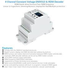 DC12V 24V Din rail mounted 4CH PWM constant voltage DMX  RDM decoder DMX512 LED Controller for RGB RGBW LED Tape lamp