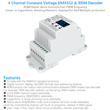 Decodificador DMX RDM de voltaje constante, DMX512, DC12V 24V, carril Din montado 4CH PWM, controlador LED para cinta de luces RGB RGBW