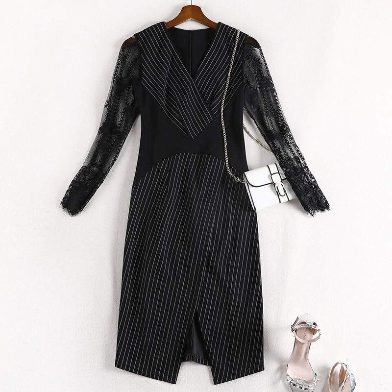 Lan Mu Square Large Size Dress Slimming Belly Covering Dress Autumn 2019 Stripes Lace Skirt Chubby Mm10623