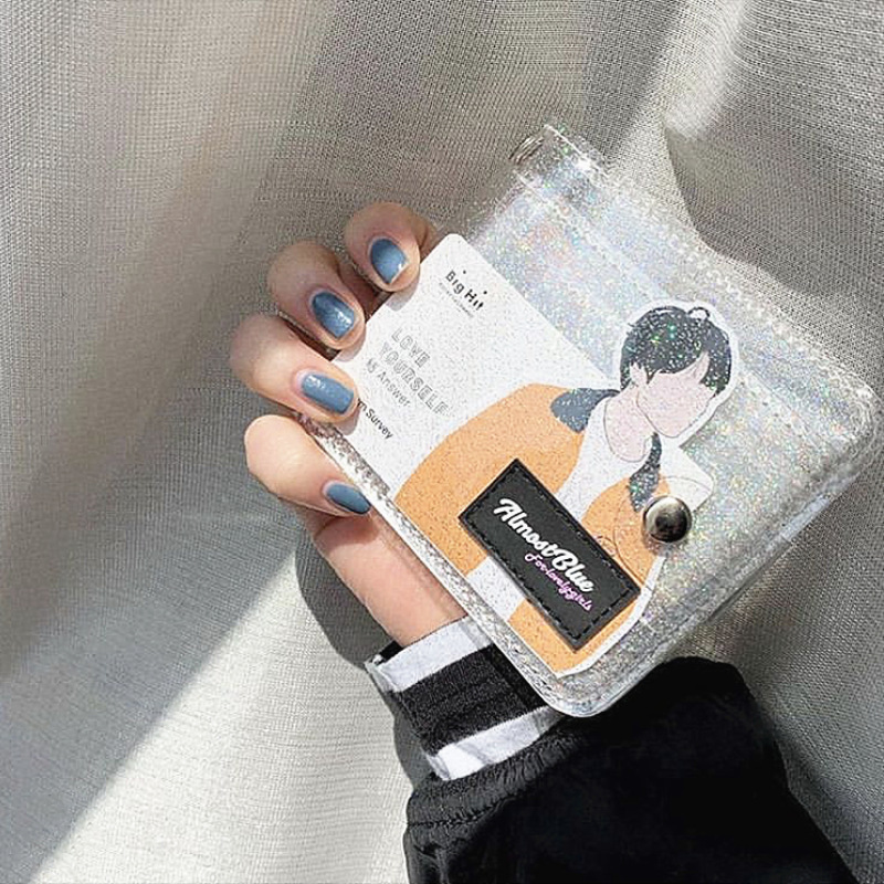 Girl Mini Letter Credit Card Holder Women Laser Money Wallet PVC Business Bank Card Holder Student Cute ID Card Case Organizer