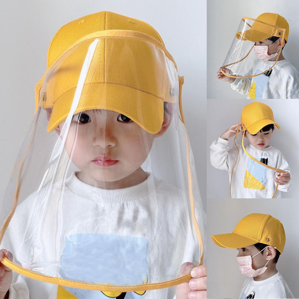 Anti-saliva Dustproof Face Cover Mask Baseball Cap Children Kids Protective Hat Breathable Hat Protection Face Neck Cover Mask