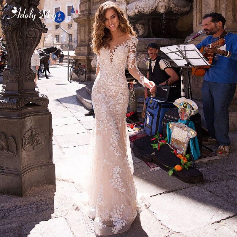 Adoly Mey Romantic Scoop Neck Long Sleeve Mermaid Wedding Dresses 2020 Sweep Train Appliques Lace Trumpet Bridal Gown Plus Size
