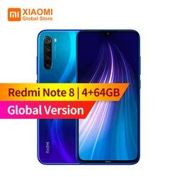Versão global xiaomi redmi nota 8 4gb ram 64gb rom do telefone móvel octa núcleo 4000mah bateria 48mp cam quich carregamento smartphone